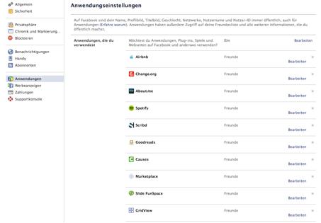Abbildung 2: Screenshot Anwendungseinstellungen bei Facebook (vom 24.4.2013)