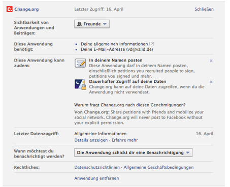 Abbildung 3: Screenshot Anwendungseinstellungen Beispiel Change.org (vom 24.4.2013)