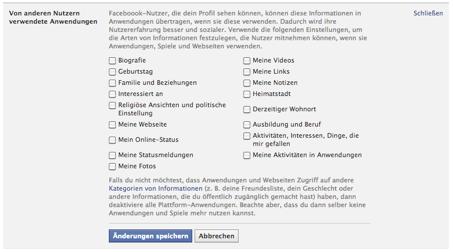 """Abbildung 4: Screenshot Einstellungen """"Von anderen Nutzern verwendete Anwendungen"""" (vom 24.4.2013)"""