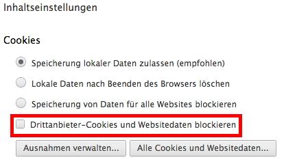 Abbildung 1: Cookies blockieren am Beispiel des Chrome-Browsers