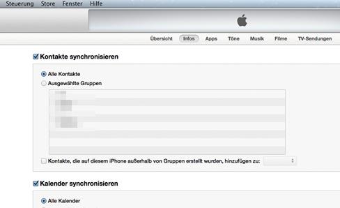 Nicht mehr dabei in OS X 10.9: Kontakte und Kalender lokal synchronisieren