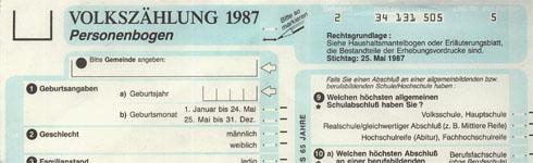 Foto: Personenbogen der Volkszählung 1987, PD