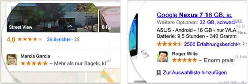"""Soziale Empfehlung"" ohne Anzeige. Screenshot: google.com."