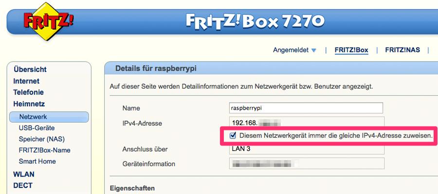 Mit dieser Einstellung bleibt die lokale IP-Adresse des Raspberry Pi konstant.