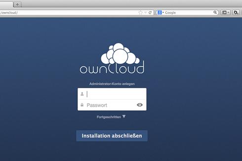 """Nach dem Abschluss der Installation ist Owncloud über die lokale IP-Adresse des Raspberry Pi und den Pfad """"/owncloud/"""" im Browser erreichbar."""