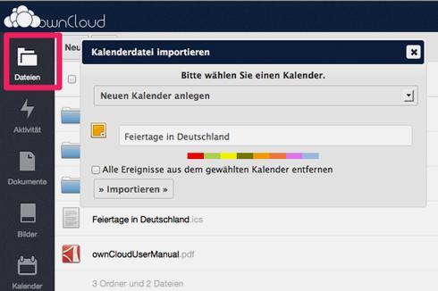 """Kalenderdateien (.ics) werden dann über den Menüpunkt """"Dateien"""" hochgeladen. Beim Klick auf die Datei fragt Owncloud dann, ob es diesen als Kalender importieren soll."""