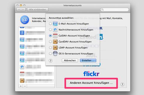 """Die Owncloud-Zugangsdaten werden in den Account-Einstellungen unter """"CalDAV-"""" und """"CardDAV-Account eingegeben. Startet man anschließend die Programme, kann das erste Synchronisieren einige Minuten dauern."""