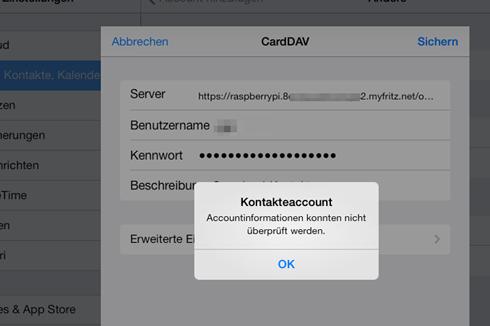 iOS meckert zwar bei der Eingabe der Owncloud-Daten mehrfach, ignoriert man die Fehlermeldungen, funktioniert der Abgleich aber anschließend trotzdem.