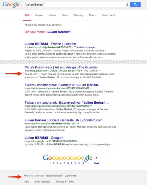 Screenshot: Google.com mit IP-Adresse aus Berlin und einem Guardian-Link, der in der deutschen Version fehlt.
