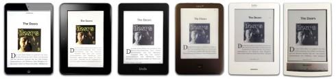 Test eines E-Book-Manuskript auf gebräuchlichen Lesegeräten. Abbildung: Fuego