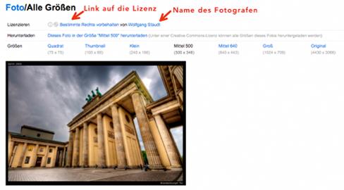 Abbildung: Lizenzlink und Fotografenname bei Flickr (flickr.com,05.11.13)
