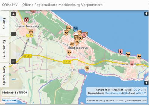 Screenshot: Hinweise zu Kartendaten und -bild bei orka-mv.de