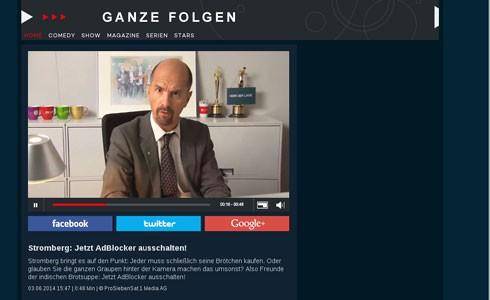 """Wer Werbeblocker nutzte, bekam bei Pro Sieben 2014 einen Appell von """"Stromberg"""" zu sehen. Screenshot: prosieben.de"""