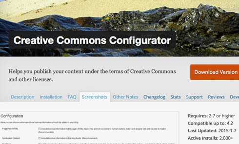 Screenshot: Creative Commons Configurator