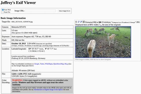 """Screenshot: Metadaten in """"Jeffrey's Exif Viewer"""""""