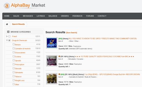 Screenshot: Angebote auf dem Darknet-Marktplatz Alphabay