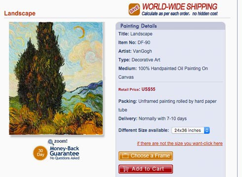 """Gemälde aus Dafen: """"Wundervolle, handgemachte Öl-auf-Leinwand-Reproduktionen von Künstlern wie Van Gogh, Picasso, Monet, Dali und mehr"""". Screenshot: dafenvillageonline.com"""
