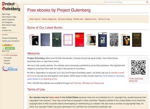 Screenshot: Project Gutenberg