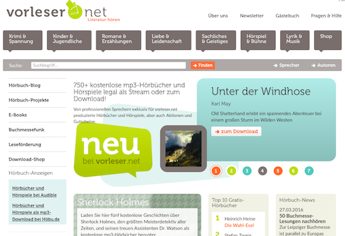 Screenshot: Vorleser.net