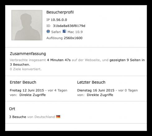 Screenshot: Besucherprofil des Webanalyse-Werkzeugs Piwik