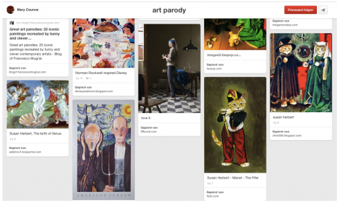 "Abb. 2: Screenshot der Bildersammlung ""Art Parody"" auf Pinterest"