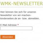 An- und Abmelde-Formular für den Newsletter von wir-machen-kinderseiten.de
