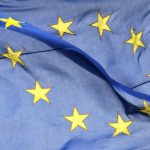 European Union flag outside Berlaymont Commission building