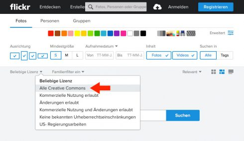 Abbildung 1: Suche nach Creative-Commons-Inhalten bei Flickr (flickr.com), Screenshot Stand 6/2017