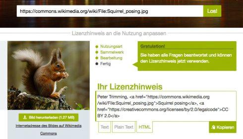Abb. 3: Die Seite Lizenzhinweisgenerator.de zeigt an, ob bei Bildverwendung aus Wikipedia Urheber- und Lizenzangaben notwendig sind und liefert diese. Screenshot Stand 6/2017