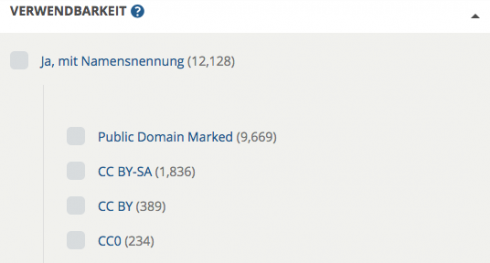 Screenshot: Suche in der Europeana