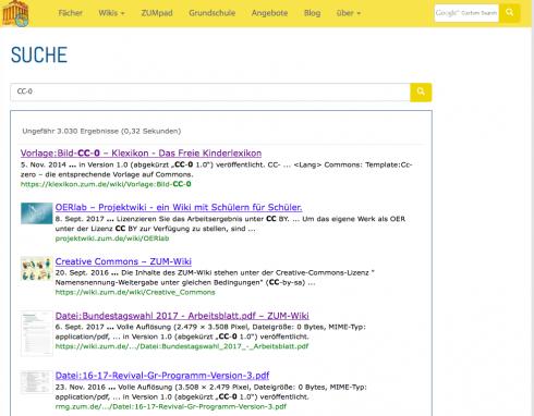 Screenshot: Suche bei ZUM