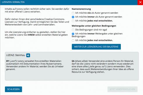 Screenshot: Lizenzverwaltung bei Tutory