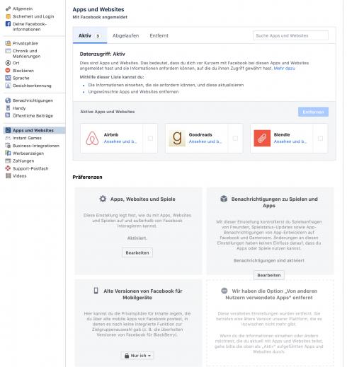 App-Einstellungen bei Facebook