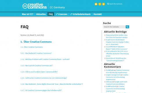 Screenshot FAQ - CC Germany