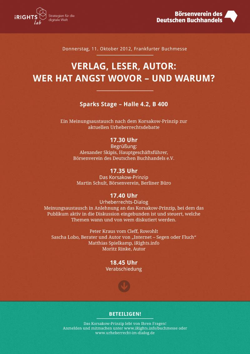 Flyer Veranstaltung iRights.lab Börsenverein Buchmesse Rinke Lobo Spielkamp vom Cleff Skipis Korsakow